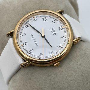 ACQUA Wristwatch Gold Tone Case White Band Analog